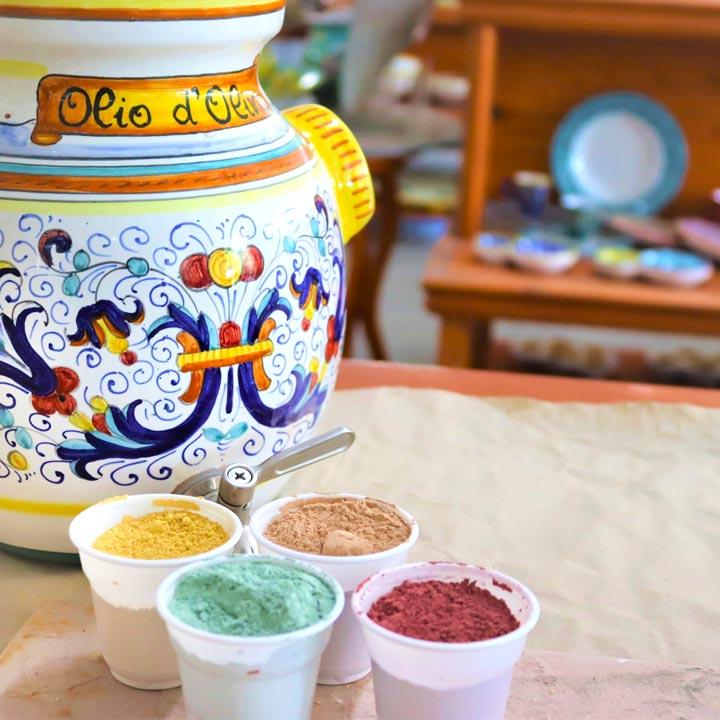 Italian ceramic olive dispenser with Ricco Deruta decoration  by  mod majoliche