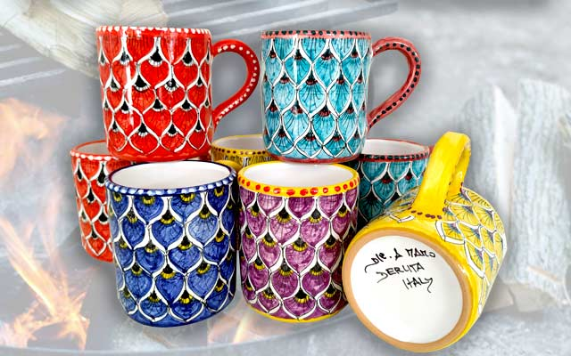Pottery for sale Mugs handpainted in Deruta by Mod company