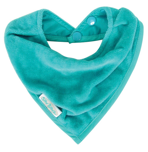 Made with super soft velour towelling, these functional and fabulous bandana bibs have a waterproof backing to keep your little one clean and dry from dribbles and spills. An essential item for teething tots, Neckline sits neatly against your baby's chest and has a triple pop stud closure.  This cool little bandana bib is available in numerous bright and fun colours - perfect for a day out.  Dimensions:  18cm x 20cm