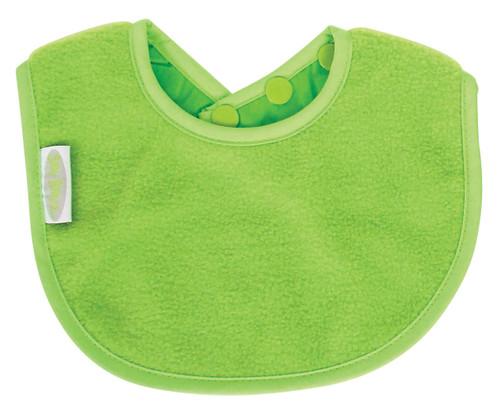 Sized just right to be your baby's first bib! Made from Snuggly Fleece with a water-resistant nylon backing.