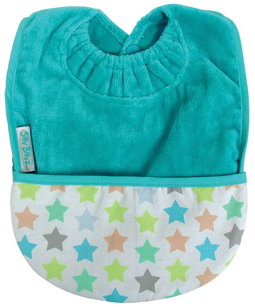 Silly Billyz waterproof pocket bib acts as a food catching pocket or a carry pouch for bite sized snacks, while protecting your baby's skin and clothing. Great for those self-feeding bubs who like a loaded spoon! Turn the pocket over for a plain front on your bib. Two bibs in one! The unique Snuggle Neck will keep even the messiest eaters clean!