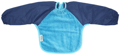 Our Long Sleeve Bib is terrific for self-feeders! The water-resistant nylon sleeves provide extra protection from food wobbling off a spoon or fork. The open back allows babies and kids to stay cool and makes it easy to get on and off.  Front is made from Snuggly velour cotton towelling with the unique snuggle neck guard which sits snug against your baby's neck to stop dribbles and spills. Backing is made with a water-resistant nylon to keep clothing and kids clean and dry!  Small: 6 months – 2 years -  dimensions: W28cm x L30cm  Large: 12 months – 3 years - dimensions: W33cm x L36cm