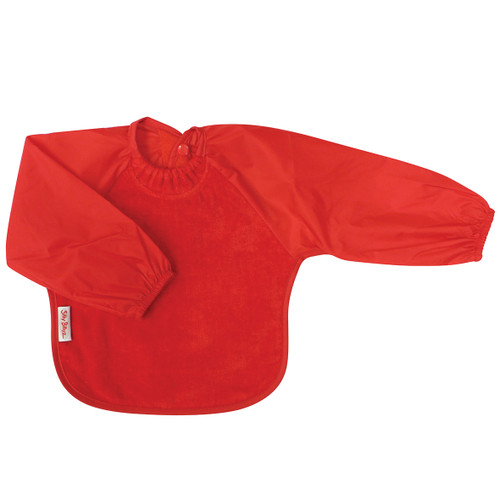 The water-resistant nylon sleeves provide extra protection from food wobbling off a spoon or fork. The open back allows babies and kids to stay cool and makes it easy to get on and off.