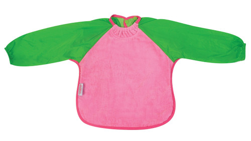 Our Long Sleeve Bib is terrific for self-feeders! The water-resistant nylon sleeves provide extra protection from food wobbling off a spoon or fork. The open back allows babies and kids to stay cool and makes it easy to get on and off.  Front is made from Snuggly velour cotton towelling with the unique snuggle neck guard which sits snug against your baby's neck to stop dribbles and spills. Backing is made with a water-resistant nylon to keep clothing and kids clean and dry!  Large: 12 months – 3 years – dimensions: W33cm x L36cm