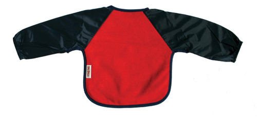 Our Long Sleeve Bib is terrific for self-feeders! The water-resistant nylon sleeves provide extra protection from food wobbling off a spoon or fork. Durable fleece front is suitable for both feeding and messy playtime. Backing is made with a water-resistant nylon to keep clothing and kids clean and dry! A great all-rounder.  Small: 6 months – 2 years - dimensions: W28cm x L30cm  Large: 12 months – 3 years – dimensions: W33cm x L36cm