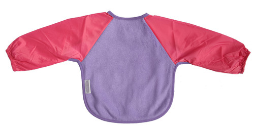 Our Long Sleeve Bib is terrific for self-feeders! The water-resistant nylon sleeves provide extra protection from food wobbling off a spoon or fork. Durable fleece front is suitable for both feeding and messy playtime. Backing is made with a water-resistant nylon to keep clothing and kids clean and dry! A great all-rounder.  Large: 12 months – 3 years – dimensions: W33cm x L36cm