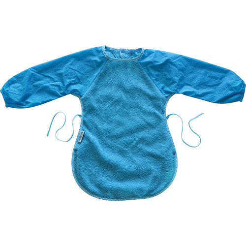 Silly Billyz Messy Eater Bib for toddlers has all the features of the Long Sleeve Bib but with an extra-long and wide front. This super long durable bib covers your toddler's front as well as the knees while they're seated to eat. Clever side press studs clip together to create a food catching pocket so less mess at mealtimes! Perfect for painting and gooey games too!  12 months – 3 years – dimensions: W37cm x L51cm