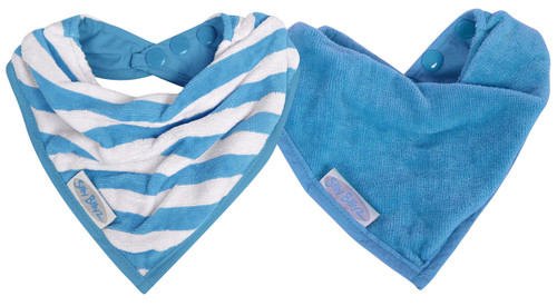 Made from organic cotton velour, these bibs are designed for babies with sensitive skin or eczema. This cool little Organic Bandana is water resistant, so it's ideal for dribbly bubs, who need to wear a bib most of the day.  Its neat size means it looks more like an accessory than a bib, and because it's organic, it is soft and luxurious against baby's skin.  Dimensions:  18cm x 20cm