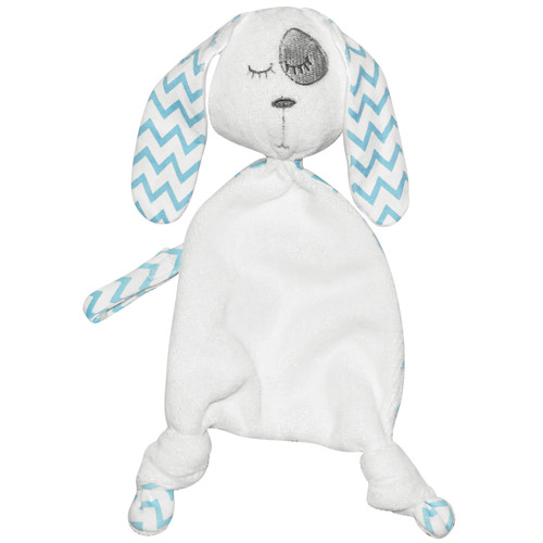 This beautiful range of sweet comforter friends are the perfect companion for your little one. Made with a cotton velour front, designer jersey cotton backing and silky smooth ears there are plenty of different textures for little fingers to explore. Our snuggypops also include a super handy velcro loop so that you can attach your child's favourite soother to the snuggypop or attach your snuggypop to the stroller so it never gets lost.     Approx dimensions-  Length- 11 inches  Width- 4.3i nches (from the widest point)