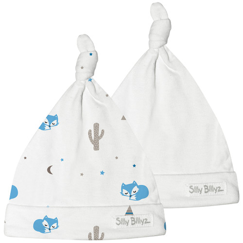 A new addition to the Silly Billyz collection are these delightful cotton newborn baby hats!  Created using our signature super soft jersey cotton, they are the perfect gift for any newborn.  The soft cotton jersey is warm and comfortable on delicate skin.  The collection is available in 2 packs, which feature one design beanie and one plain white beanie.
