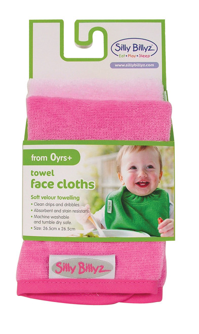 Our Silly Billyz premium velour towelling face cloths are ideal for quick clean ups or bath time. The face cloths measure 26 x 26cm and feature binding around the edges to ensure our face cloths last and last.  Dimensions:  26cm x 26cm