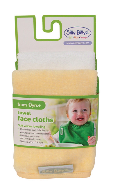 Our Silly Billyz premium velour towelling face cloths are ideal for quick clean ups or bath time. The face cloths measure 26 x 26cm and feature binding around the edges to ensure our face cloths last and last.