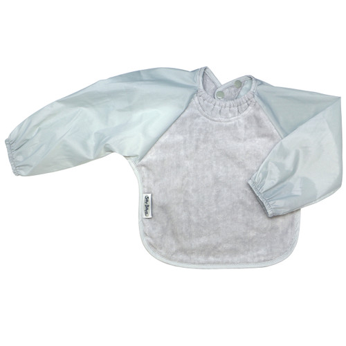 Front is made from Snuggly velour cotton towelling with the unique snuggle neck guard which sits snug against your baby's neck to stop dribbles and spills. Backing is made with a water-resistant nylon to keep clothing and kids clean and dry!