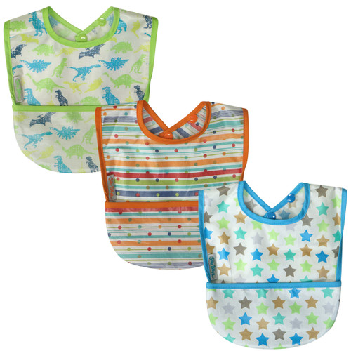 Simply wipe the coated front section of the bib down after each meal and wash it as necessary. The sweet design cottons are coated with baby safe PU which is quick to dry once washed. 3 months – 3 years. Dimensions: 23cm x 25cm
