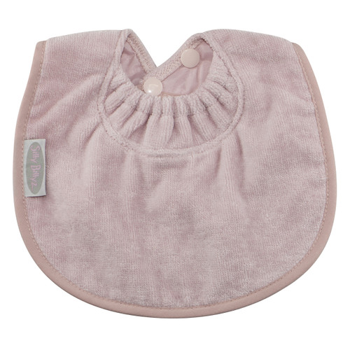 This nifty Biblet is sized just right to be your baby's first bib! The soft and absorbent towelling fabric will keep baby's sensitive skin dry, plus it protects those first sweet outfits. Made from Snuggly Towel with a water-resistant nylon backing, this range has the clever snuggle neck guard, which sits snug against your baby's neck to stop dribbles and spills -  perfect for bubs with eczema.  Small enough to leave on for extended periods of time. The triple snap closure lets you choose the size, so this handy newborn bib grows with your baby.