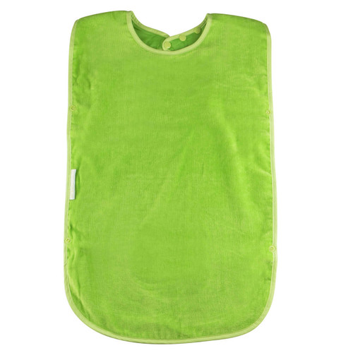 `- Easy snap on and adjustable neck - Absorbent velour towelling - Water resistant nylon backing - Machine washable and tumble dry safe
