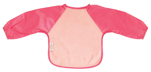 The water-resistant nylon sleeves provide extra protection from food wobbling off a spoon or fork. Durable fleece front is suitable for both feeding and messy playtime. Backing is made with a water-resistant nylon to keep clothing and kids clean and dry!
