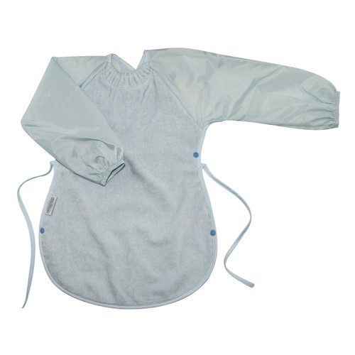 Perfect for painting & arty creating! The Messy Eater Bib covers your toddler's front as well as the knees while they're seated to eat or create. Clever side press studs clip together to create a food catching pocket so less mess at mealtimes! Made from Cuddly Fleece or Snuggly Towel with the unique snuggle neck guard. They both have a water-resistant nylon backing and the Snuggly Towel range has the clever snuggle neck guard, which sits snug against your baby's neck to stop dribbles and spills.  12 months – 3 years – dimensions: W37cm x L51cm