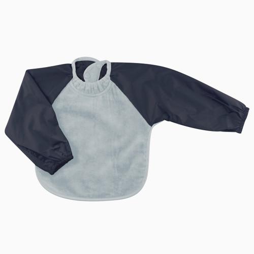Dusty Blue/Navy Towel Long Sleeve Bib