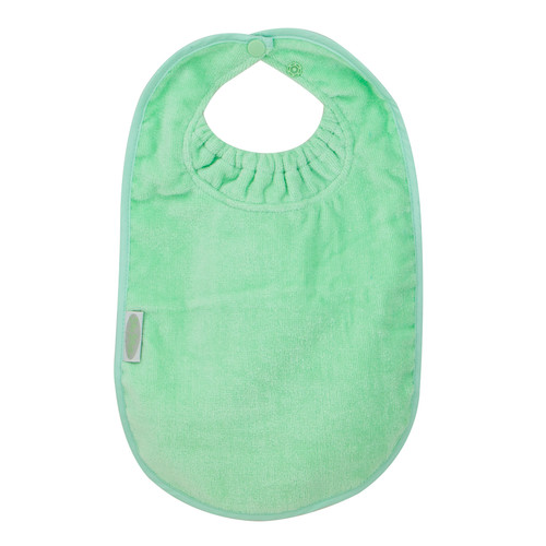 This bib is designed for bottle or breast feeding and for the messy first days of solids. Easy wash and tumble dry safe, they stay soft and bright, wash after wash. Dimensions: 29cm x 26cm