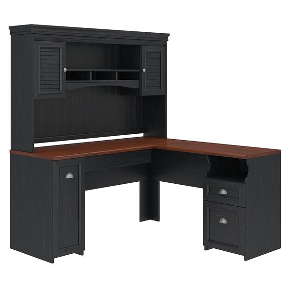 Bush Furniture Fairview L Shaped Desk with Hutch in Antique Black