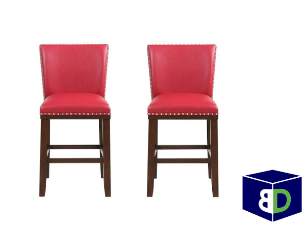 Avanca Red KD Counter Stool, set of 2