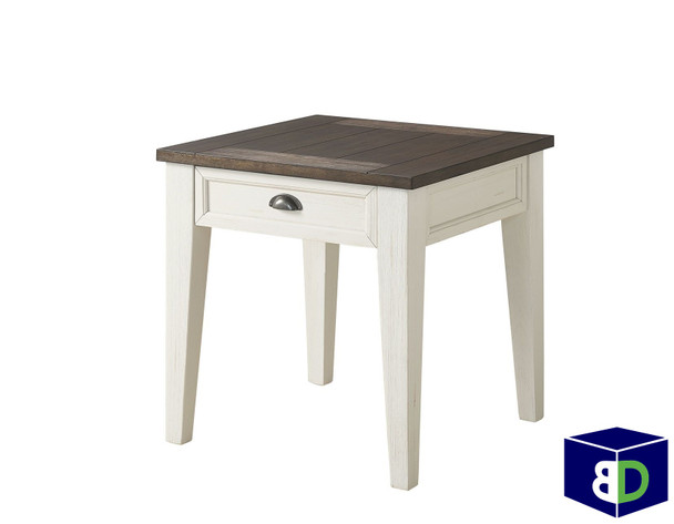 Craft  End Table Dark Oak, White