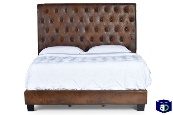 Loren Upholstered Brown Bed Frame, Queen