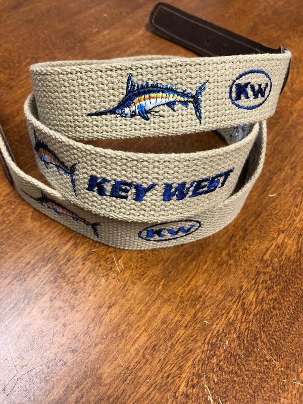 Ocean Rider Handmade Embroidered Webbing Belts with Marlin Design
