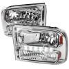 1999-2004 Ford F-250/F-350/F-450/F-550/Excursion Crystal Headlights w/ SMD LED Light Strip (Chrome Housing/Clear Lens)
