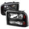 2005-2007 Ford F-250/F-350/F-450/F-550/Excursion Crystal Headlights (Matte Black Housing/Clear Lens)
