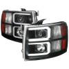 2007-2013 Chevrolet Silverado 1500/ 2007-2014 Silverado 2500HD 3500HD Dual LED C-Bar Projector Headlights (Matte Black Housing/Clear Lens)