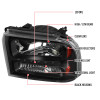 2005-2007 Ford F-250/F-350/F-450/F-550/Excursion Crystal Headlights w/ SMD LED Light Strip (Matte Black Housing/Clear Lens)
