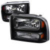 1999-2004 Ford Excursion/F-250/F-350/F-450/F-550 Crystal Headlights (Matte Black Housing/Clear Lens)