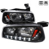 2006-2010 Dodge Charger SMD LED DRL 1PC Style Headlights w/ Amber Reflector (Matte Black Housing/Clear Lens)