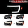 2004-2015 Nissan Titan/ 2004-2007 Armada LED C-Bar Projector Headlights w/ Switchback Sequential Turn Signals (Matte Black Housing/Clear Lens)