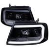 2004-2008 Ford F-150/ 2006-2008 Lincoln Mark LT LED C-Bar Projector Headlights (Glossy Black Housing/Smoke Lens)