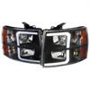 2007-2013 Chevrolet Silverado 1500/ 2007-2014 Silverado 2500HD 3500HD LED Bar Factory Style Headlights w/ Amber Reflector (Matte Black Housing/Clear Lens)