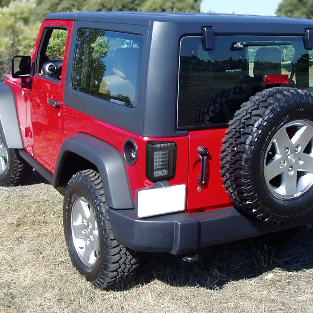 2007-2017 Jeep Wrangler Black Housing Clear Lens Full LED Tail Lights