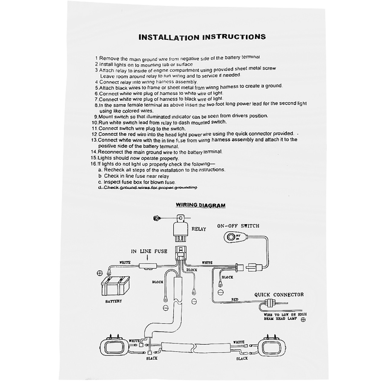 Universal 16 Gauge Off Road LED Work Lights Wiring Harness Kit w/ Dual  Relay, Fuse, & On/Off Switch - Spec-D Tuning | Spec D Wiring Diagrams Of Lights |  | Spec-D Tuning