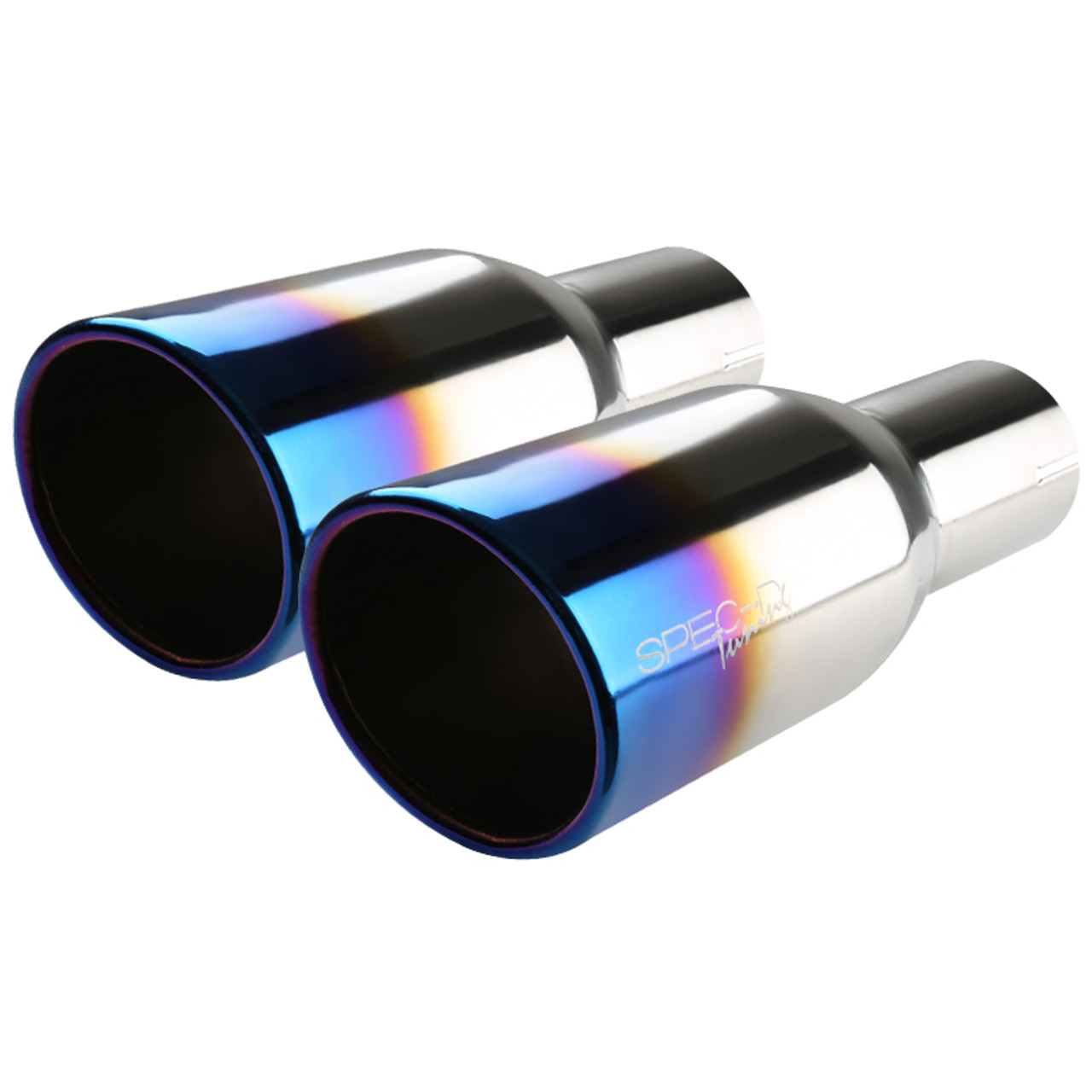 "Universal 3.5/"" Outet Rainbow Stainless Steel Bolt On Exhaust Slanted Muffler Tip"