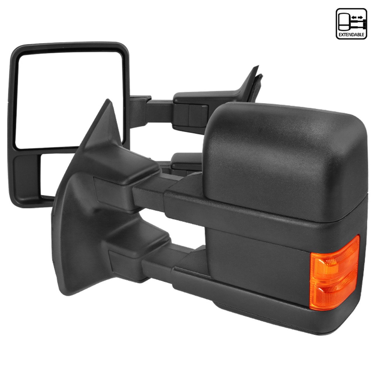 Pair Black Manual Extend Towing Side Mirrors 2008-2016 Ford F250//F350//F450//F550