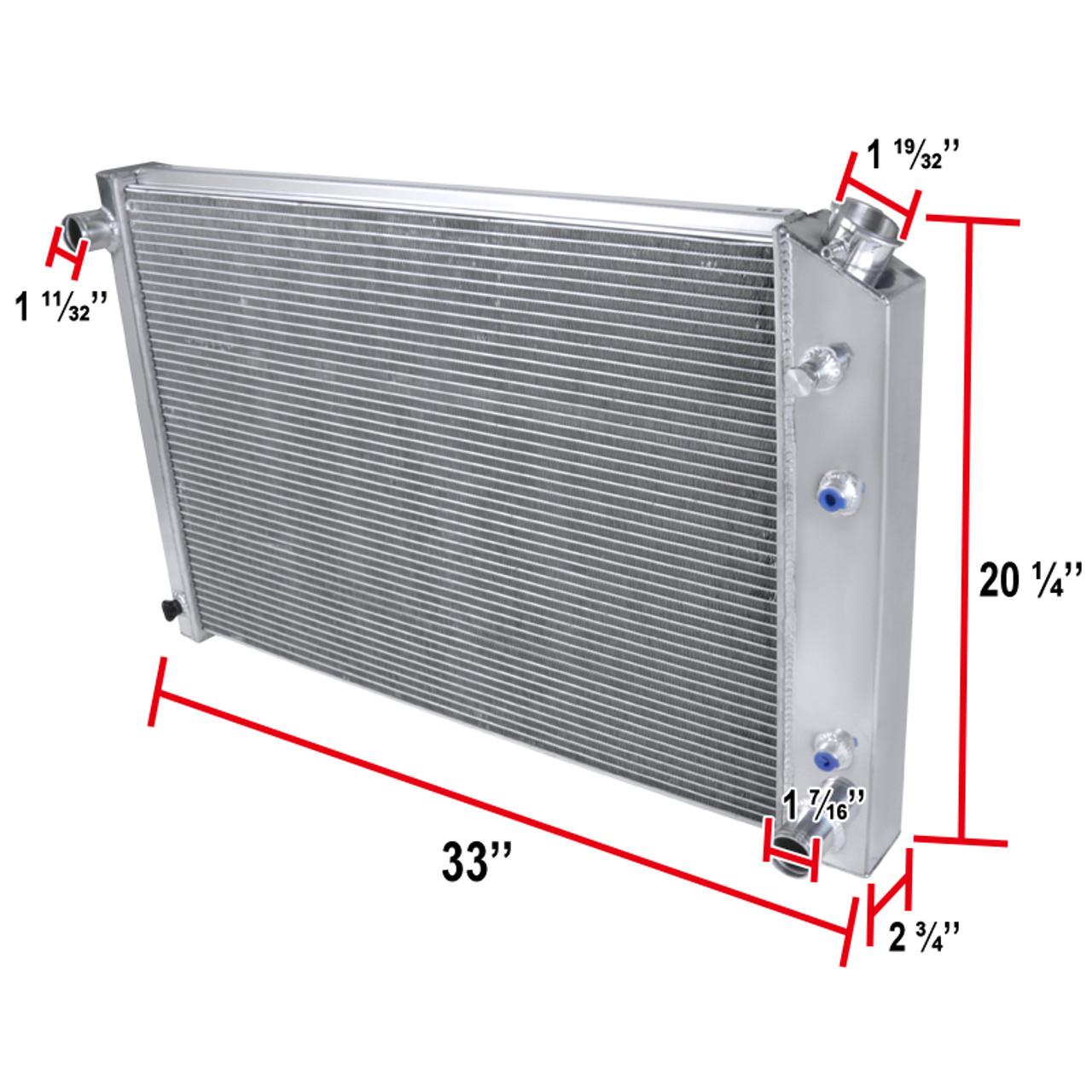 Spec-D Tuning For Chevy C//K C10 C20 K10 K20 3-Row Chrome Aluminum Performance Cooling Radiator