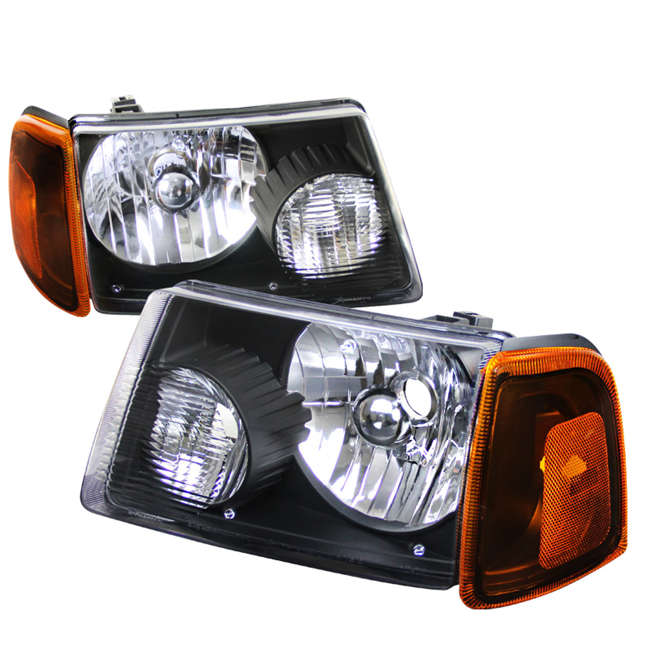 2001 2011 ford ranger clear lens headlights amber lens corner signal lights pair 4 pieces spec d tuning spec d tuning