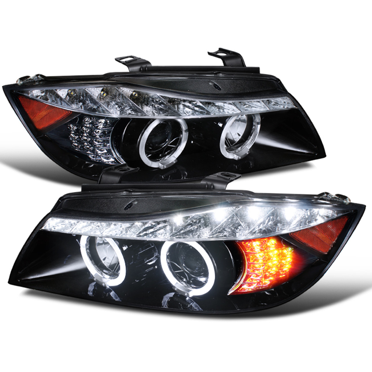 For 2006-2008 BMW E90 3-Series Black Halo Projector Headlights+LED Signal DRL
