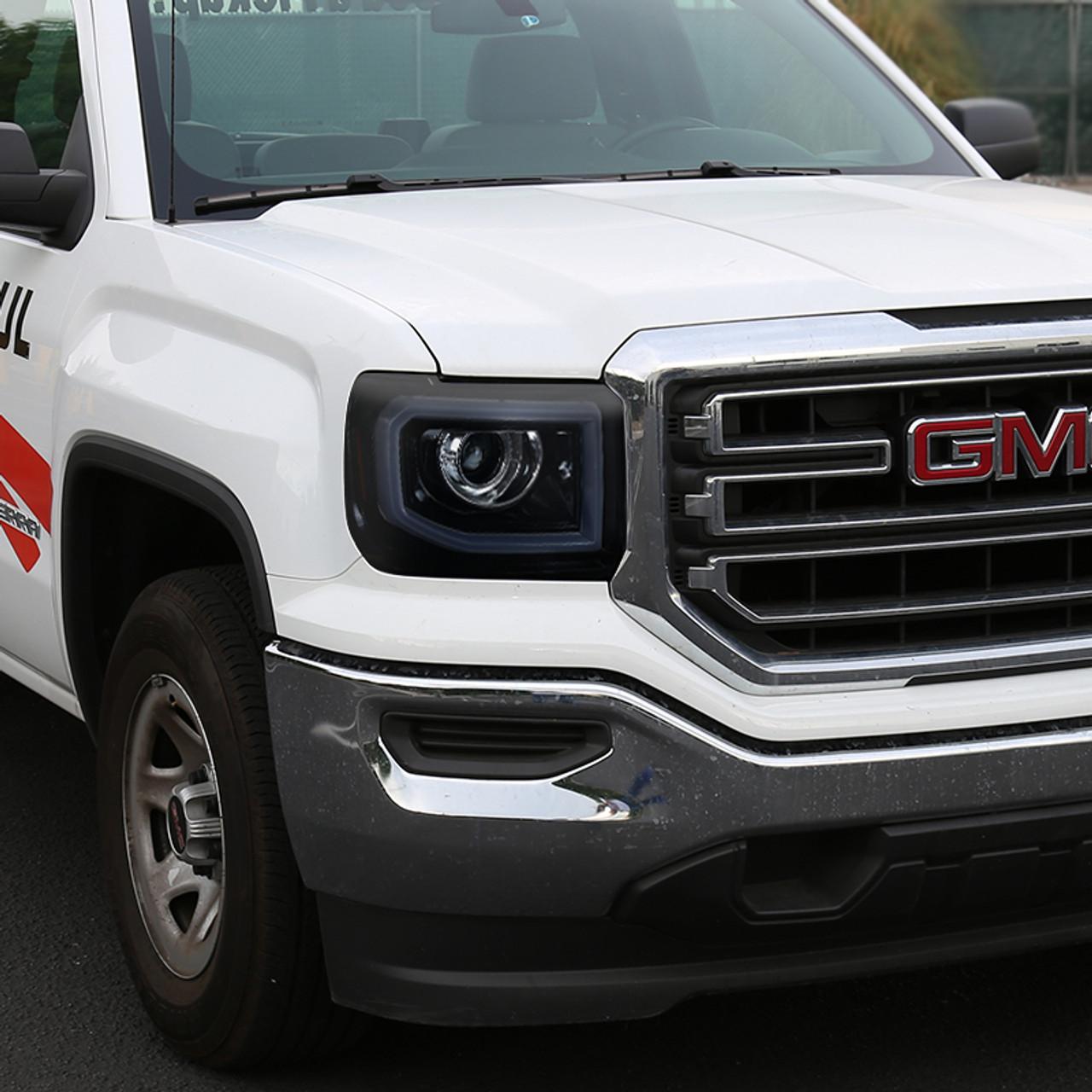 2014 2019 Gmc Sierra 1500 2500 3500 Led Bar Projector Headlights W Led Turn Signals Lights Glossy Black Housing Smoke Lens Spec D Tuning