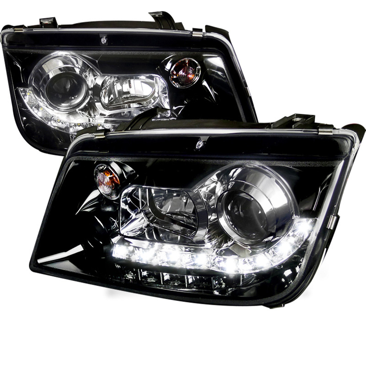 1999 2004 Volkswagen Jetta Bora Projector Headlights W R8 Style Led Light Strip Glossy Black Housing Smoke Lens Spec D Tuning