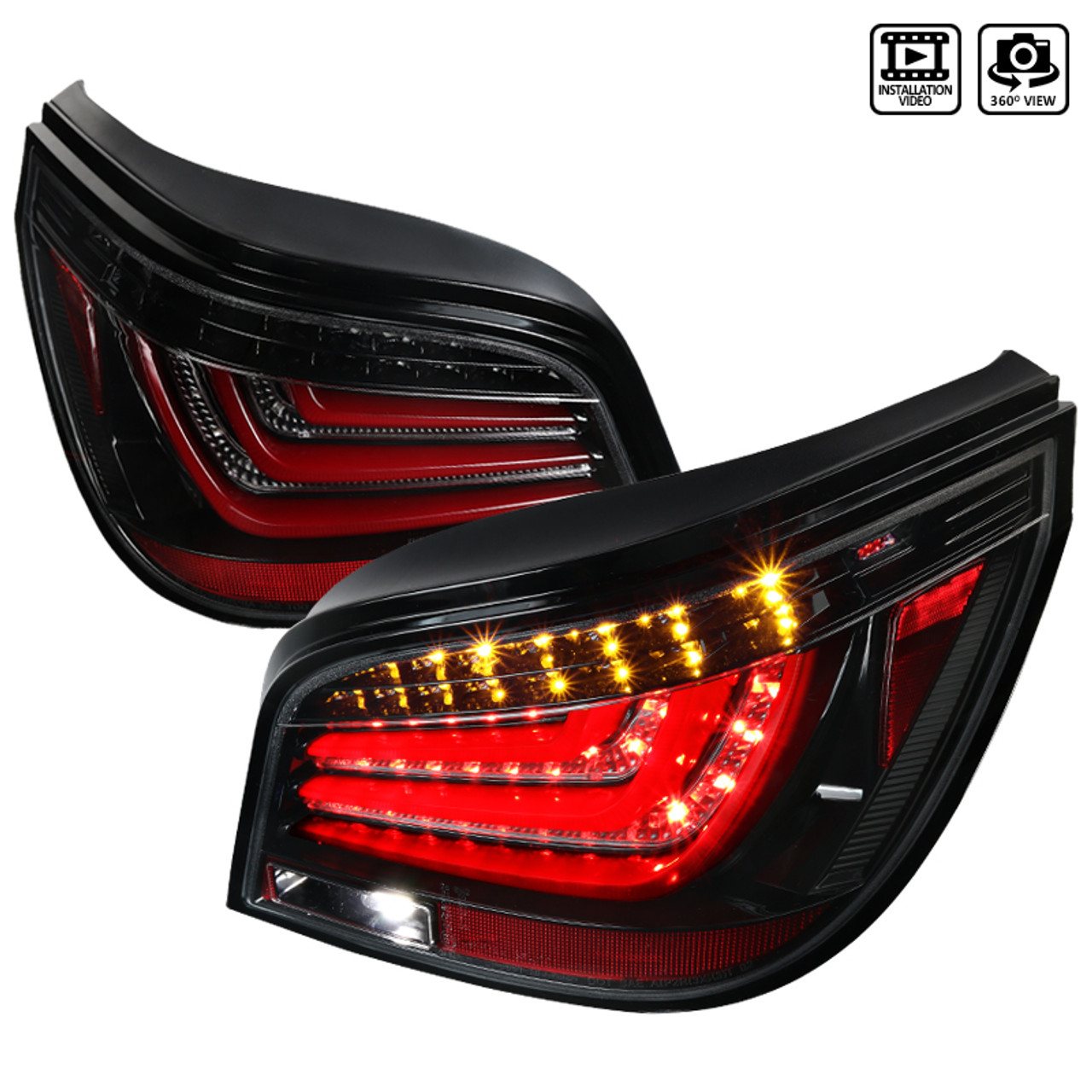 2004 2007 Bmw E60 5 Series 4dr Pearl Black Housing Clear Lens Led Tail Lights Spec D Tuning