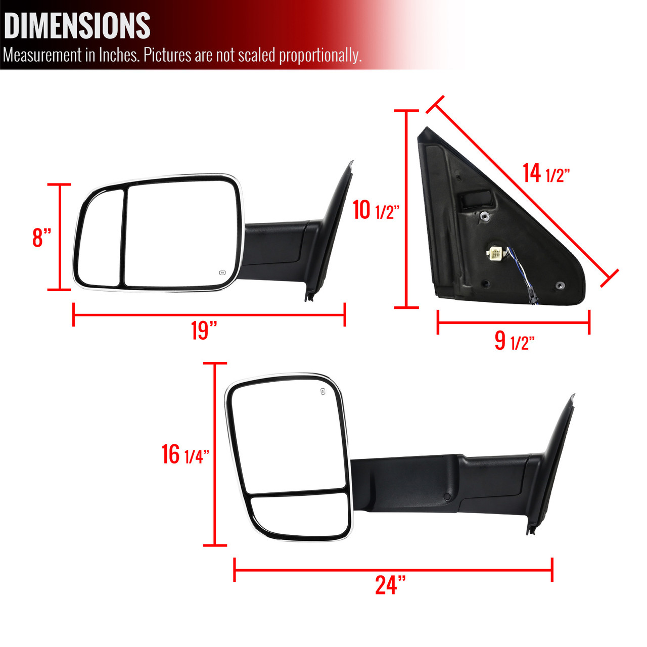 Waooeafi Tow Mirrors Power Heated Led Signals Pair for 02-10 Dodge Ram 1500-3500
