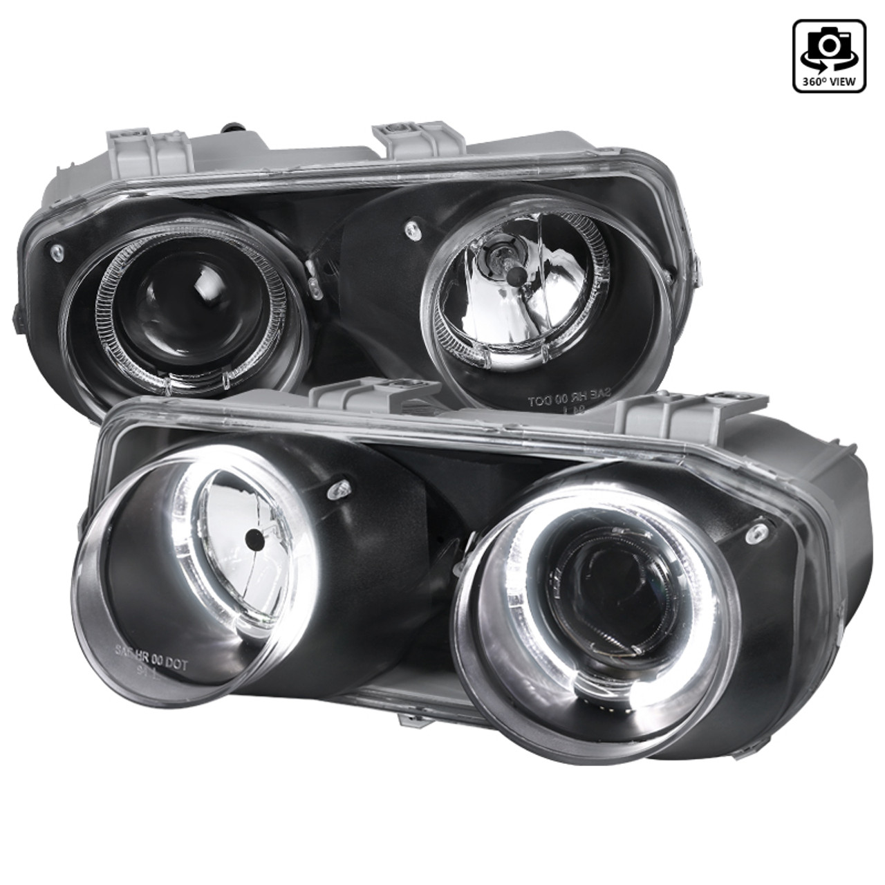 1994 1997 Acura Integra 3dr 4dr Dual Halo Projector Headlights Matte Black Housing Clear Lens Spec D Tuning